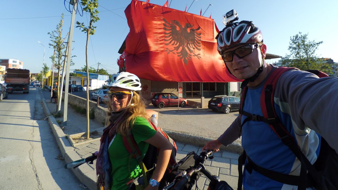 Albanian flag in Fier