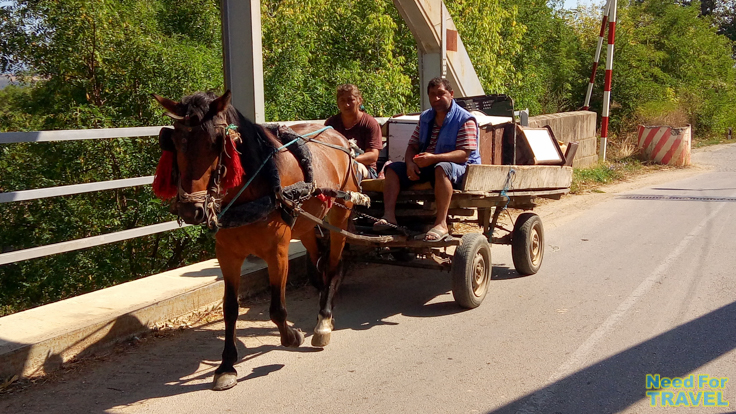 Local Serbian people on the horse